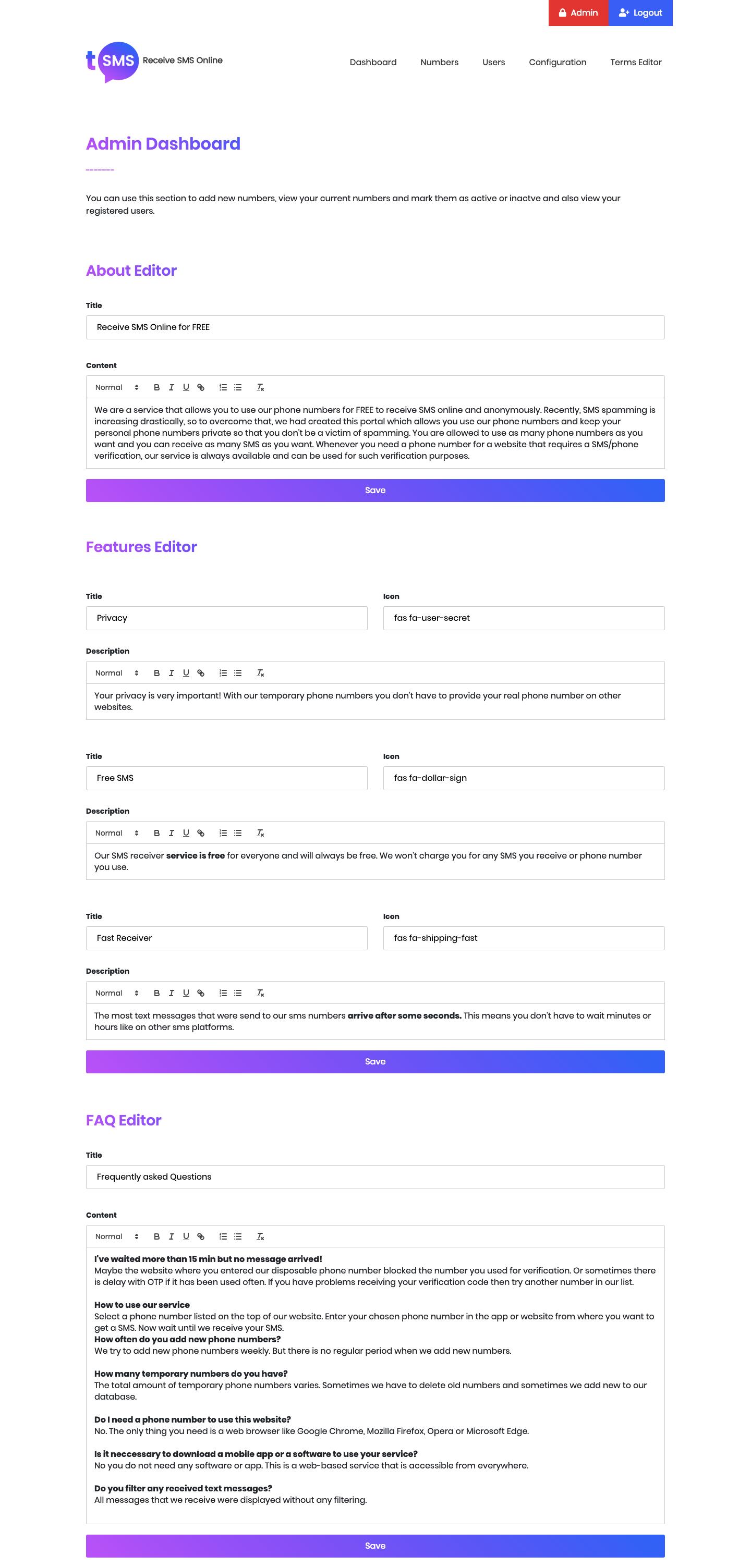 PHP+MYSQL多語言臨時短信接收係統源碼插圖7