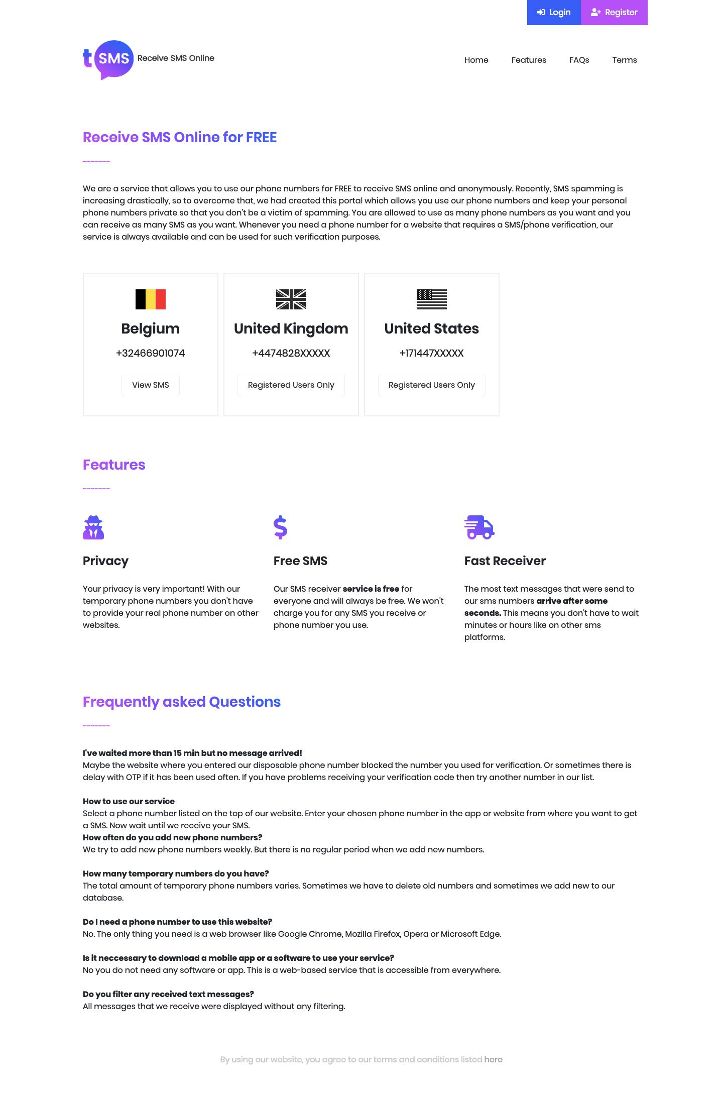 PHP+MYSQL多語言臨時短信接收係統源碼插圖1