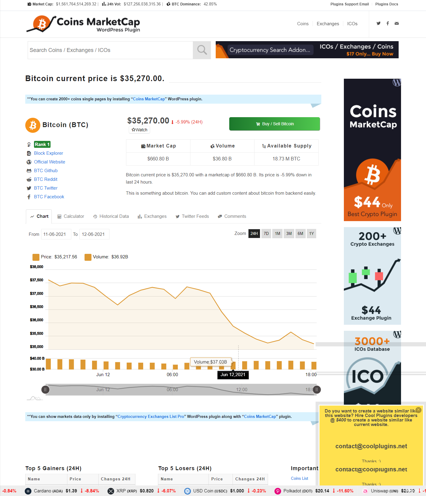 Coins MarketCap - WordPress加密货币插件/多语言插图3