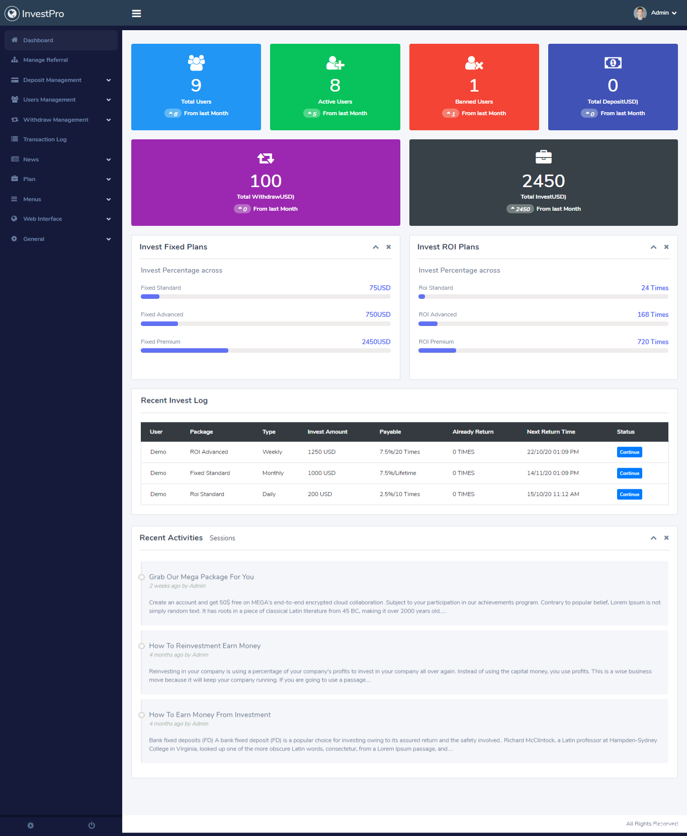 InvestPro - PHP在线钱包/银行投资平台插图3