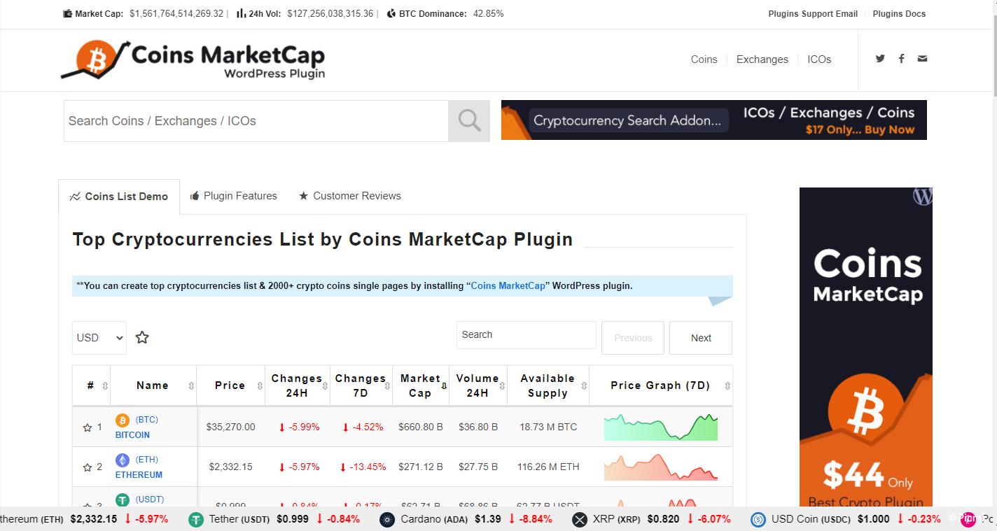 Coins MarketCap - WordPress加密货币插件/多语言插图1