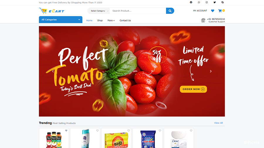eCart Web版 v2.1.0 - 完整版PHP電子商務網站/網店源碼,適用於雜貨店,食品配送,水果店和蔬菜店等插圖1