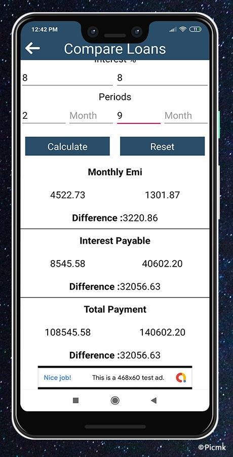 安卓EMI/GST稅率計算器源碼/分期付款/貸款利息計算器插圖5