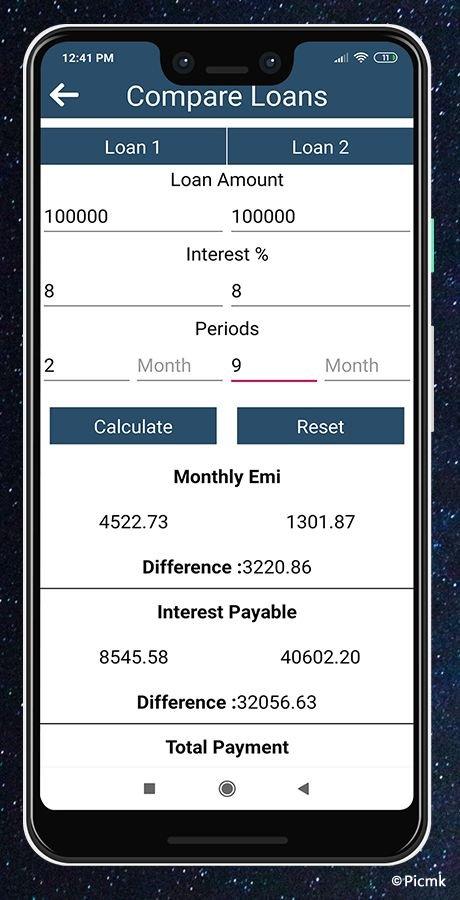 安卓EMI/GST稅率計算器源碼/分期付款/貸款利息計算器插圖3